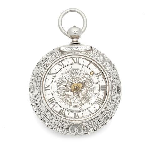 Goullons, Paris. A large silver clock coach watch with alarm (af) Circa 1680