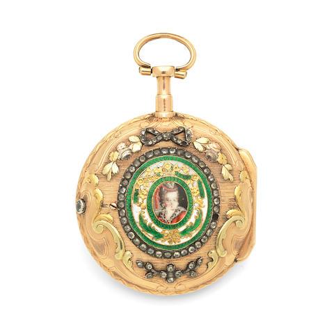 Dufour, Ceret & Cie, Ferney, France. A tri-colour gold key wind open face pocket watch with enamel portrait miniature Circa 1770