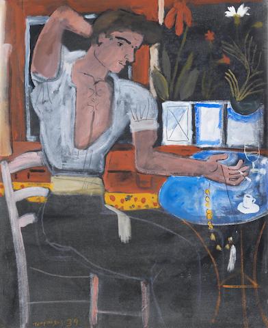Yiannis Tsarouchis (Greek, 1910-1989) Young man from Piraeus  65 x 53 cm.