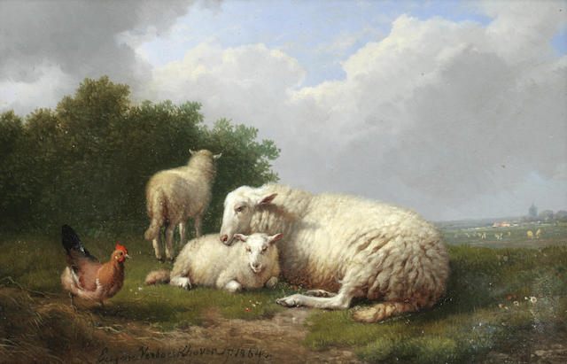 Eugène Verboeckhoven (Belgian, 1798-1881) Sheep sheltering with a chicken