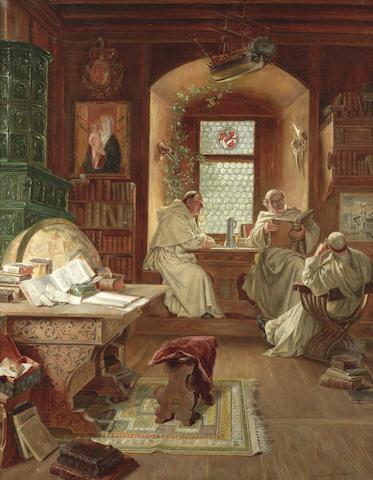 Eduard von Grützner (German, 1846-1925) An afternoon of debate