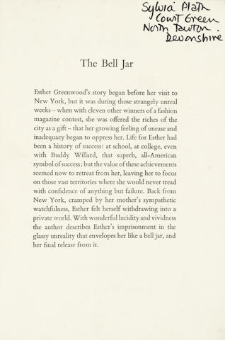 """PLATH (SYLVIA) The Bell Jar by Victoria Lucas, SYLVIA PLATH'S """"UNCORRECTED PROOF COPY"""" WITH HER OWN MANUSCRIPT CORRECTIONS, AND OWNERSHSIP INSCRIPTION , Heinemann, [1962]"""