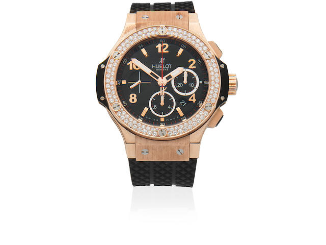 Hublot. An 18K rose gold and titanium diamond set automatic calendar chronograph wristwatch  Big Bang, Circa 2010
