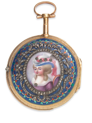 Romilly, Paris. A continental gold key wind open face pocket watch with enamel portrait miniature Circa 1770