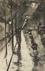 LESSER URY (1861-1931) Bellevuestraße am Abend, Berlin (Executed in Berlin on 24 October 1922)