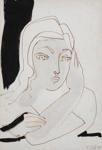 Francoise Gilot (born 1921) Jeune fille pensive  (Executed in 1959)