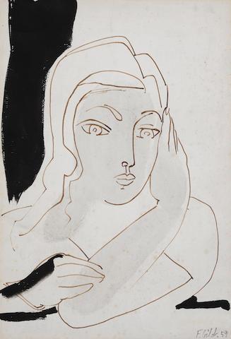 Francoise Gilot (born 1921) Jeune fille pensive  (Executed in 1959)