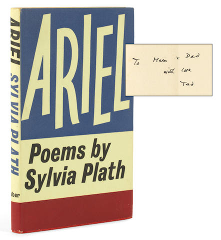 "PLATH (SYLVIA) Ariel, FIRST EDITION, PRESENTATION COPY FROM TED HUGHES TO HIS PARENTS, inscribed ""To Mam & Dad with love Ted"", Faber and Faber, 1965"