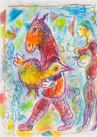 Marc Chagall (1887-1985) Homme cheval avec coq jaune (Executed circa 1978)