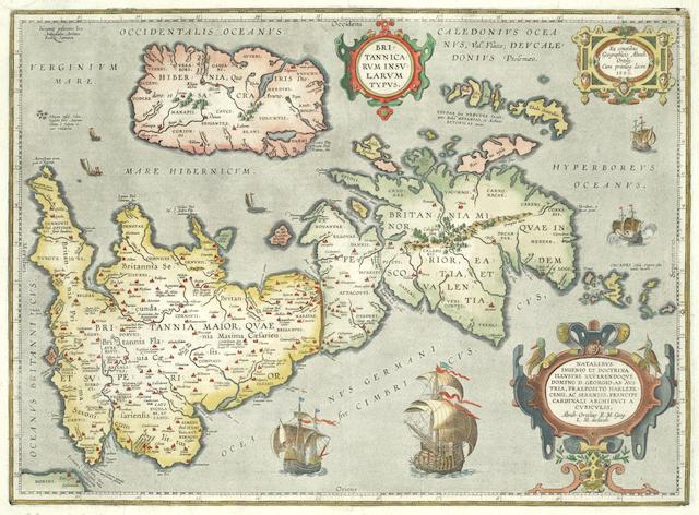 BRITISH ISLES [ORTELIUS (ABRAHAM)] Angliae, Scotiae, et Hiberniae, sive Britannicar: Insularum descriptio, [1571]; Britannicarum insularum typus, 1595 [but 1624], Latin text on verso; Eryn. Hiberniae, Britannicae insulae, nova descriptio. Irlandt, Antwerp (3)