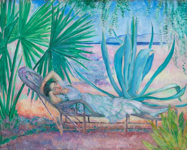 HENRI  LEBASQUE (1865-1937) Saint-Tropez, le hamac sous les pins (Painted circa 1923)