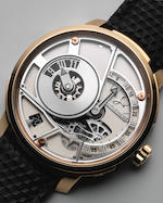 Hautlence. A semi-skeletonised 18K gold and titanium manual wind wristwatch with eccentric dial Ref: HLQ 05, Recent
