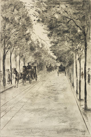 LESSER URY (1861-1931) Allee im Tiergarten, Berlin (Executed in September 1919)