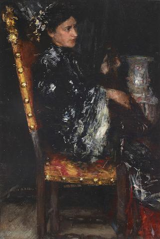 Antonio Mancini (Italian, 1852-1930) The Oriental robe