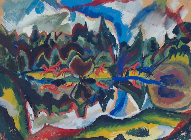 Otto Dix (1891-1969) Landschaft mit Pferden (Executed circa 1915)