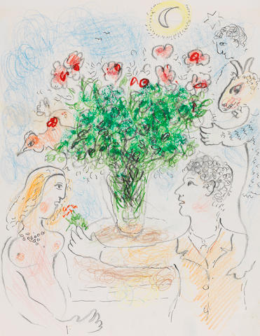 Marc Chagall (1887-1985) Couple au bouquet (Executed circa 1975)
