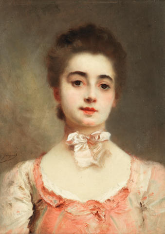Gustave Jean Jacquet (French, 1846-1909) Portrait of a young lady