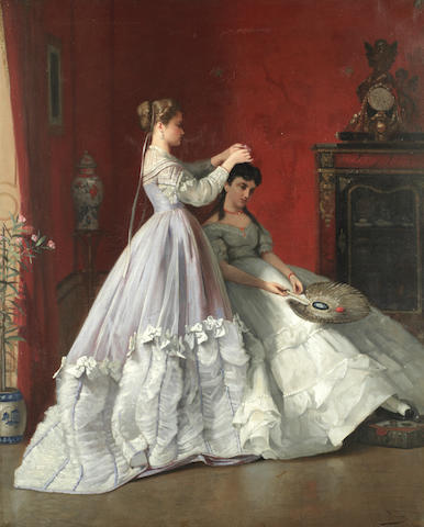 Charles Louis Verwee (Belgian, died 1882) Preparing for the ball