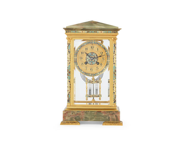 A late 19th century French gilt bronze, champlevé enamel and green onyx four glass mantel clock the movement stamped Samuel Marti