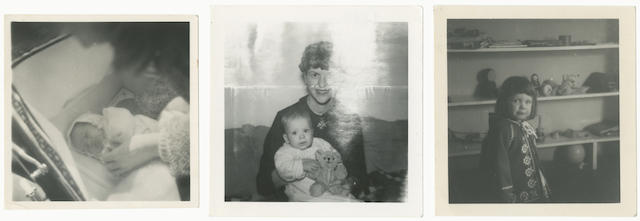 """PLATH (SYLVIA) Collection of three family photographs, comprising: Sylvia Plath wearing the """"dragon pendant"""" [see lot 319], with baby Nicholas (holding a teddy bear) on her knee, INSCRIBED BY SYLVIA PLATH on reverse """"Rains of Oblivion"""", [1962]; Frieda Hughes, aged 2, standing by shelves of toys wearing her blue christening jacket [see above], [April 1960] (3)"""
