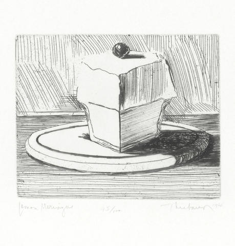 Wayne Thiebaud (American, born 1920) Lemon Meringue, from 'Delights' Etching and drypoint, 1964, on wove, signed, dated, titled and numbered 45/100 in pencil, published by Crown Point Press, with wide margins, 100 x 125mm (3 7/8 x 4 7/8in)(PL)
