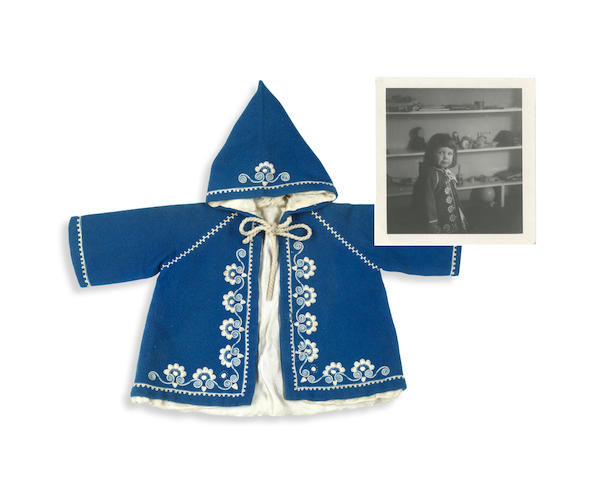 PLATH (SYLVIA) A blue hooded jacket, worn by Frieda Hughes on the day of her christening in March 1962, [c.1962]