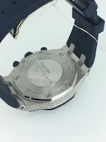 Audemars Piguet. A fine mid-size 18K white gold and diamond set automatic calendar chronograph wristwatch  Royal Oak Offshore, Ref: 26092CK.ZZ.D021CA.01, Circa 2010