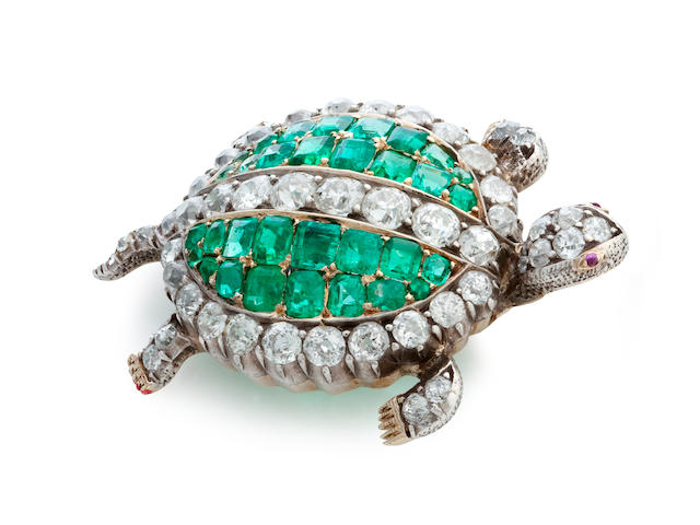 An emerald and diamond turtle brooch, late 19th Century