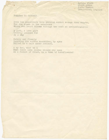 PLATH (SYLVIA) Typescript of the poem 'Poppies in October', [1962]