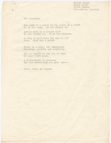 PLATH (SYLVIA) Typescript of the poem 'The Couriers', [1962]