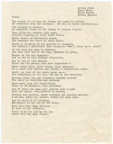 PLATH (SYLVIA) Typescript of the poem 'Totem', [1963]