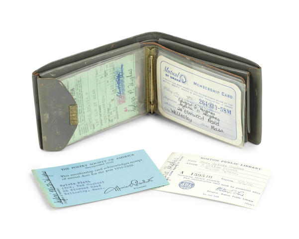 PLATH (SYLVIA) Wallet containing seven membership and ID Cards, including her Boston Public Library card, her Poetry Society of America membership card, and her driving licence, six of them SIGNED BY SYLVIA PLATH, together with a small photograph of Sylvia, her mother and brother seated by a Christmas tree, [1950s]