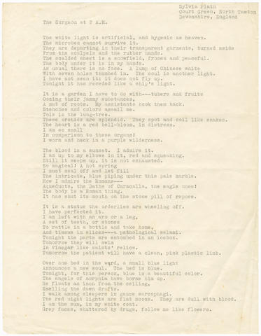 PLATH (SYLVIA) Typescripts of three poems, comprising 'The Surgeon at 2 a.m.' (2 copies) and  'By Candlelight', [1962] (3)