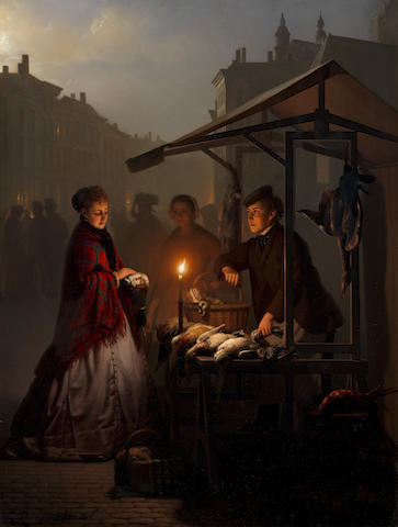 Petrus van Schendel (Belgian 1806-1870) At the poultry stall on the Groenmarkt, The Hague