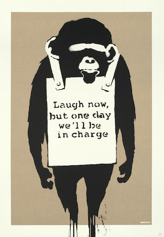 Banksy (British, born 1975) Laugh Now Screenprint in colours, 2004, on wove, numbered 365/600 in pencil, published by Pictures on Walls, London, the full sheet, 700 x 500mm (27 1/2 x 19 5/8in)(SH)(unframed)