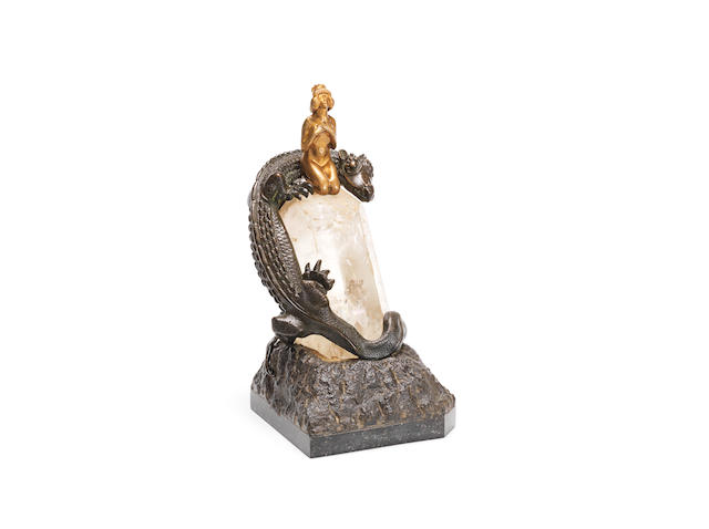'princess and dragon' a rare art nouveau bronze and rock-crystal study UNSIGNED, CIRCA 1900