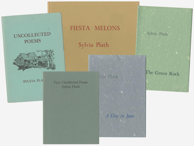 PLATH (SYLVIA) Uncollected Poems, LIMITED TO 150 COPIES, publisher's stiff card, pictorial wrappers (light spotting at fore-edges) [Tabor A6], Turret, [1965]; Fiesta Melons... Introduction by Ted Hughes, NUMBER 11 OF 75 COPIES SIGNED BY TED HUGHES, 8vo and small 4to (11)