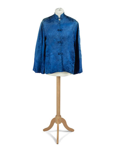 """PLATH (SYLVIA) A Japanese blue embroidered silk jacket, with label """"Made in Italy. Dickins and Jones, Regent Street"""" (2)"""