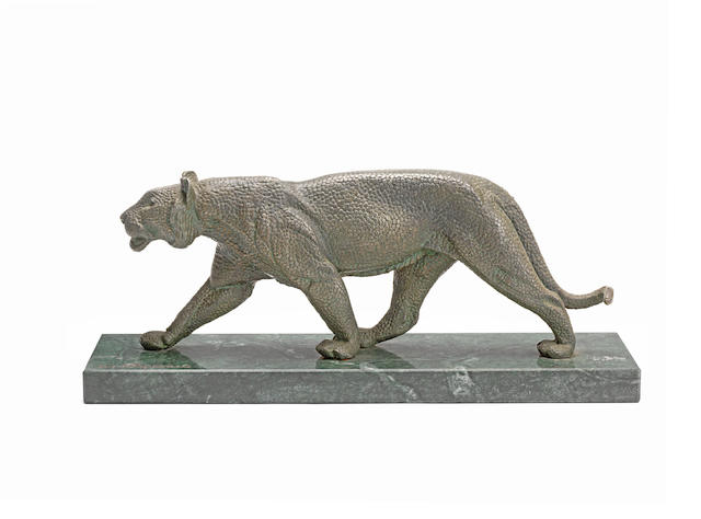an art deco stippled art metal model of a silvered panther by Demetre Chiparus   ENGRAVED 'D.H CHIPARUS' TO BASE, CIRCA 1925