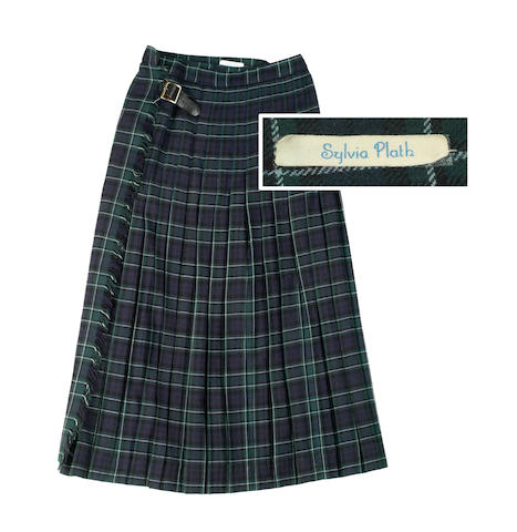 PLATH (SYLVIA) A pleated green tartan skirt, with Sylvia Plath's name tape (in blue lettering), [1950s]