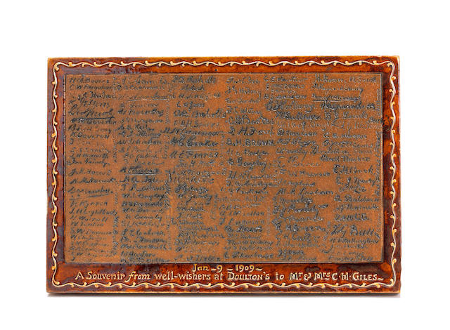 a historical doulton lambeth presentation plaque with employee signatures STAMPED MAKER'S MARK WITH MUSEUM AQUISITION NUMBER, DATED 1909