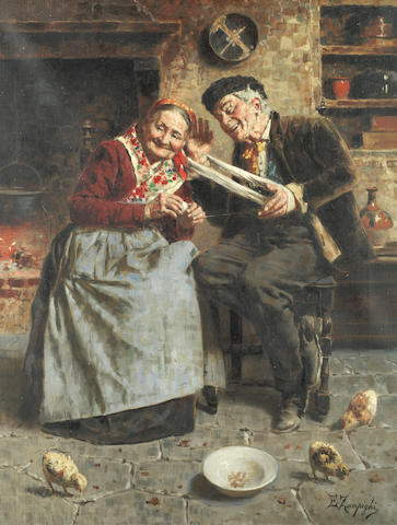 Eugenio Zampighi (Italian, 1859-1944) A good joke