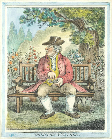 James Gillray (British, 1757-1815) A group of weather caricatures: 'Delicious Weather', 'Sad Sloppy Weather', 'Dreadful Hot Weather', 'Fine Bracing Weather' Four etchings with hand-colouring, 1808, on wove, published by H. Humphrey, London, with margins, 255 x 205mm (10 x 8in)(or smaller)(PL)(4)