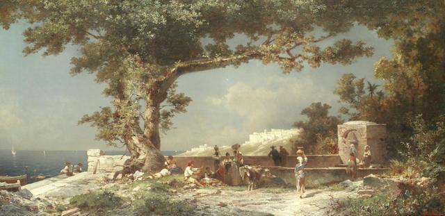 Franz Richard Unterberger (Austrian, 1838-1902) 'Golfe de Salerno, Italie'