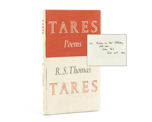 """THOMAS (R.S.) TARES, FIRST EDITION, 1961; Song at the Year's Turning, fourth impression, 1960, EACH INSCRIBED BY TED HUGHES TO SYLVIA PLATH ON HER BIRTHDAY (""""To Sylvia on her birthday with love from Ted, Oct 27th 1961"""", on front free endpaper), Rupert Hart-Davis (2)"""