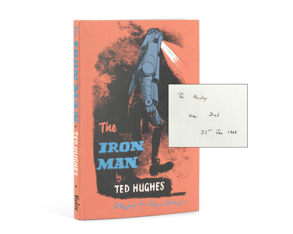 "HUGHES (TED) The Iron Man. A Story in Five Nights, FIRST EDITION, AUTHOR'S PRESENTATION COPY TO THE DEDICATEE, INSCRIBED ""To Nicky from Dad 31st Jan 1968"" on the front free endpaper, Faber and Faber, 1968"