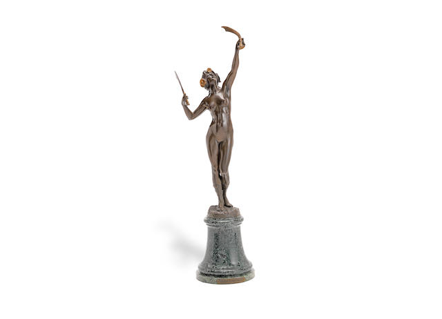 'danse pyhrrhique' (victory dance), an art nouveau patinated and gilded bronze study by eugene barillot  SIGNED IN CAST, CIRCA 1900