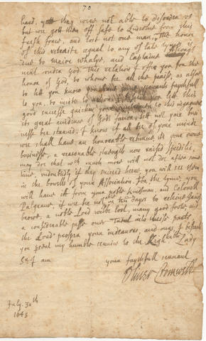 """CROMWELL (OLIVER) Autograph letter signed (""""Oliver Cromwell""""), probably to his fellow MP Sir John Wray, Parliamentary Commissioner for Lincolnshire, written in the summer of 1643, subscribed """"July 30th"""" [1643]"""