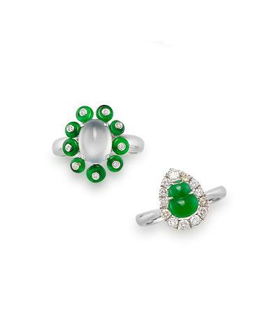 Two Jadeite and Diamond Rings (2)
