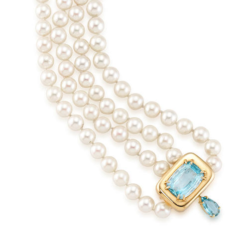 A Cultured Pearl and Aquamarine Necklace